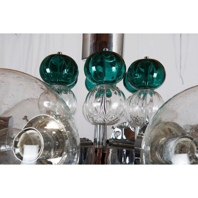Silver Large Chandelier with Hand Blown Ball Lights by Kamenicky Senov, 1970s For Sale - Image 8 of 11