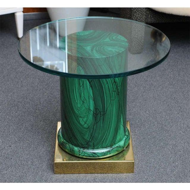 Sleek Modern Classic Malachite Column Side Table - Image 3 of 8