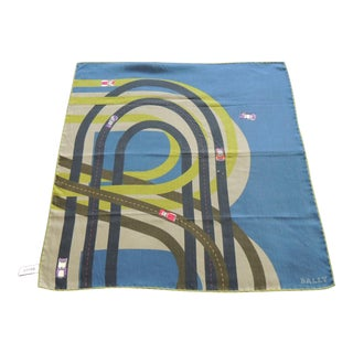 Fashion: Bally's Racetrack Green and Blue Unisex Scarf For Sale