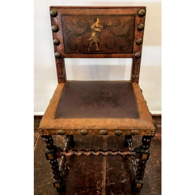 Spanish Colonial Revival Painted Leather and Wood Drop-Front Desk on Stand and Chair For Sale - Image 10 of 13