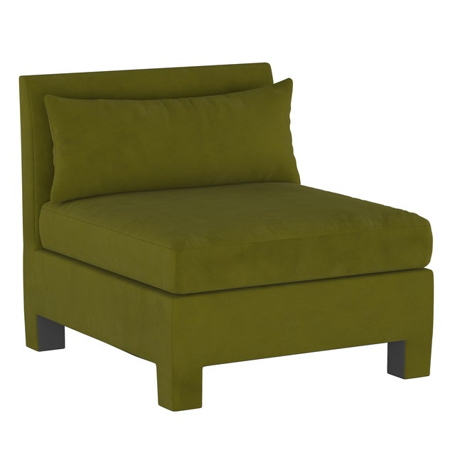 Not Yet Made - Made To Order 4 Piece Sectional , Velvet Applegreen For Sale - Image 5 of 9