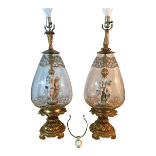 Andrea by Sadek Antique Victorian Cherub Putti Blown Glass Lamps - A Pair For Sale