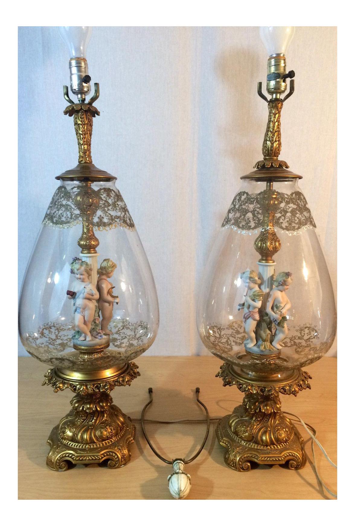 Andrea By Sadek Antique Victorian Cherub Putti Blown Glass Lamps   A Pair    Image 1