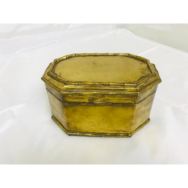 Gold 1960s Asian Faux Bamboo Decorative Brass Box For Sale - Image 8 of 8