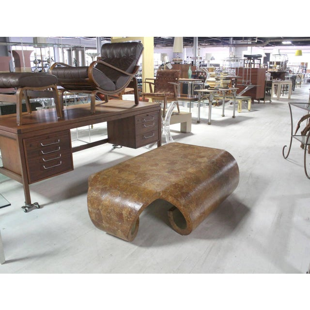 Mid-Century Scroll Side Egg Shell-Like Finish Coffee Table For Sale - Image 10 of 11