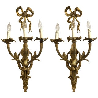 Pair of French Louis XVI Monumental Doré Bronze Three-Arm Wall Sconces For Sale