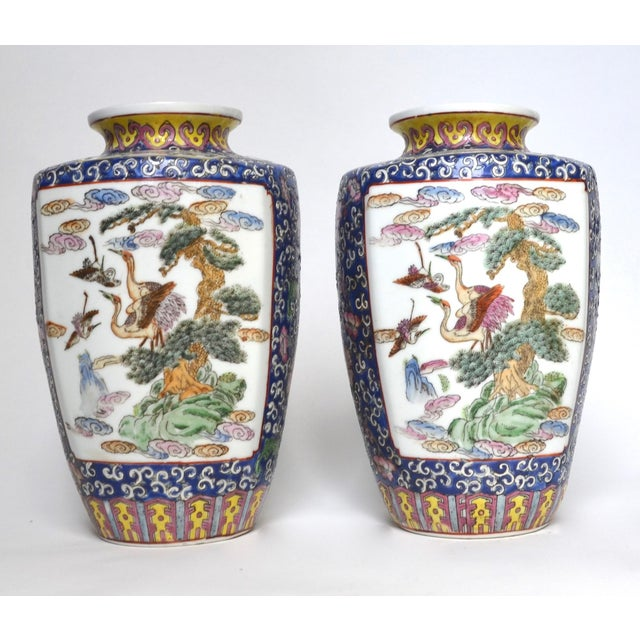 Ceramic Antique Chinese Late Qing Dynasty Famille Rose Vase Pair For Sale - Image 7 of 7