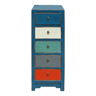 Mixed Color Blue Five Drawers Slim Chest Cabinet