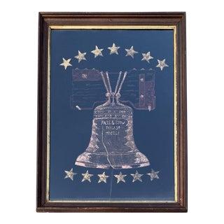 1930s Painted Velvet Gold Centennial Liberty Bell Banner For Sale