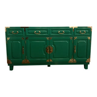 Jade Lacquered Asian Style Credenza