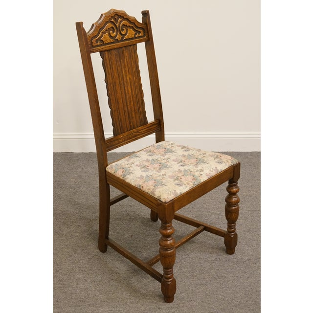 1920's Antique Vintage Gothic Revival Jacobean Dining Side Chair For Sale - Image 4 of 9