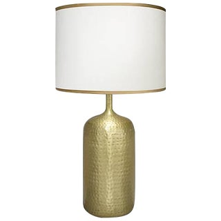 Soft Gold Metallic Table Lamps & Golden-Beige Silk Shade For Sale