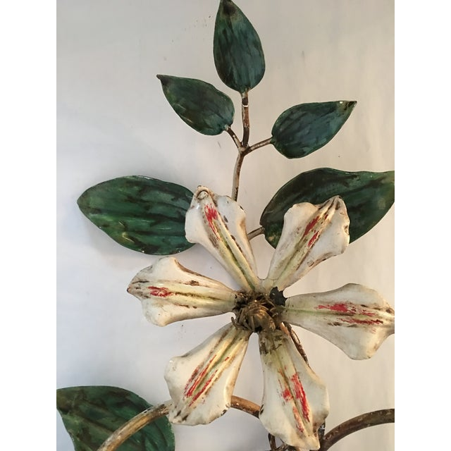 Vintage Italian Flower Candle Sconces - A Pair - Image 3 of 6