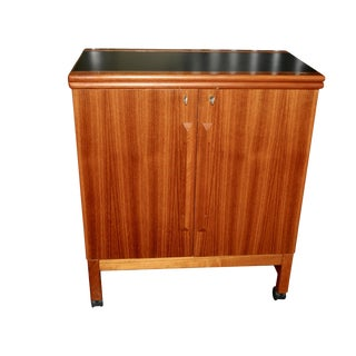 Mid Century Modern Rolling Bar Cart/Cabinet by Brucksbro Mellemstrand For Sale