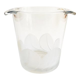 Large Vintage Frosted Leaf Glass Ice Bucket For Sale