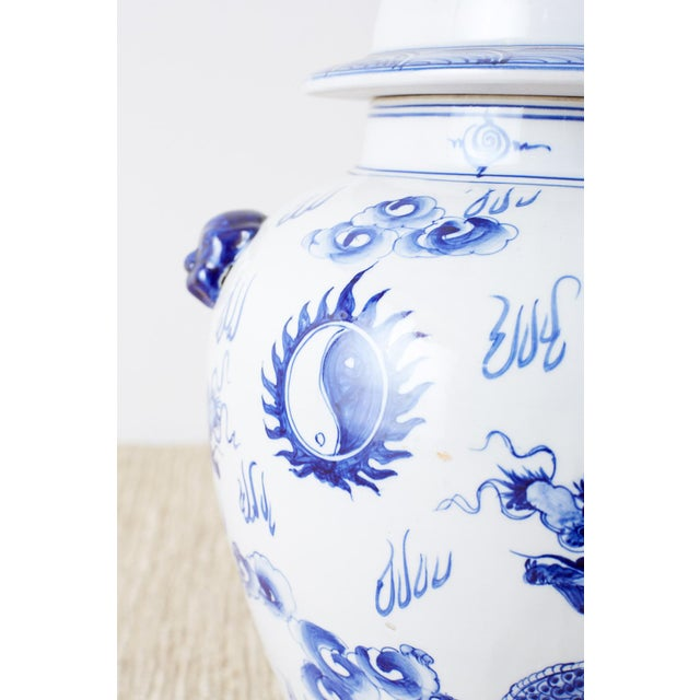Oversized Chinese Blue and White Porcelain Ginger Jar For Sale In San Francisco - Image 6 of 13