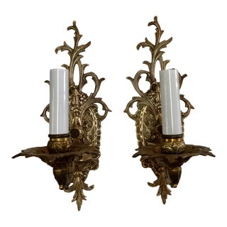Brass French Style Sconces, Pair For Sale