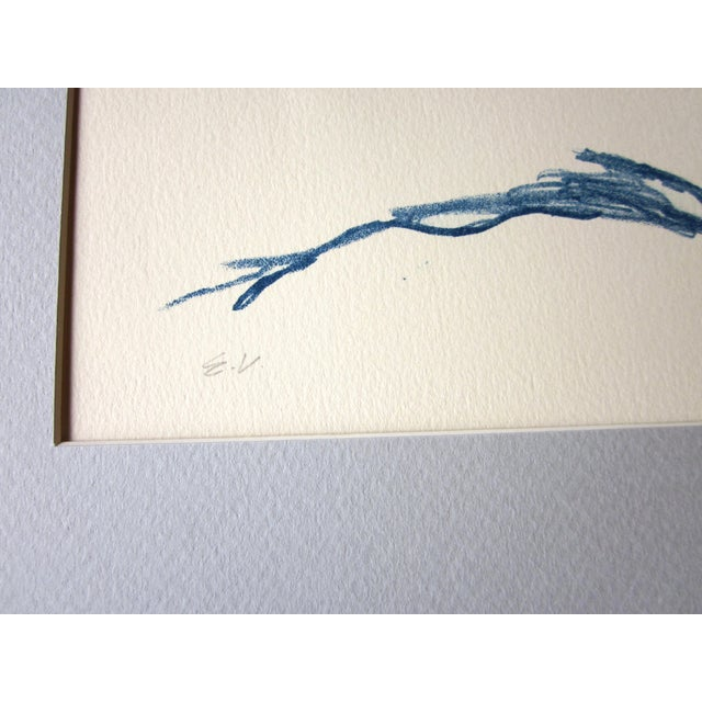 """Ink Blue 1970s Vintage Suzanne Peters """"Swimmer"""" Nude Stone Lithograph For Sale - Image 8 of 10"""