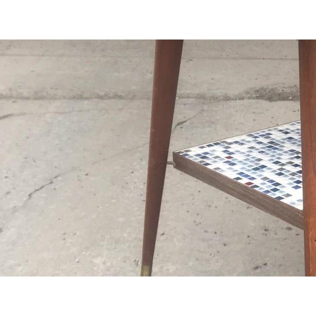 White Vintage Mid-Century Modern Mosaic Tile Occasional Table For Sale - Image 8 of 9