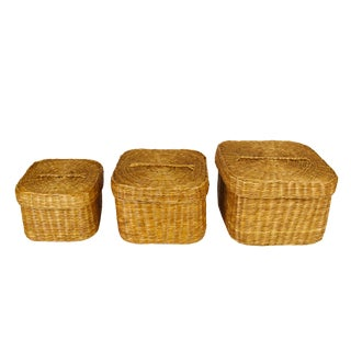 Hand Woven Lidded Nesting Storage Baskets - Set of 3 For Sale