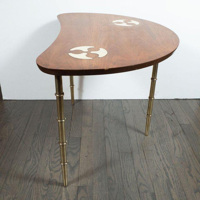 Brass Mid-Century Organic Inlaid Brass & Walnut Bowfront Side/End Table by Mastercraft For Sale - Image 7 of 10