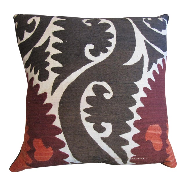 Vintage Suzani Hand Embroidered Pillow For Sale