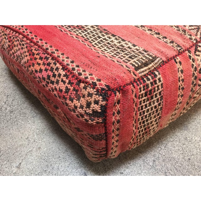 1960s Moroccan Floor Pillow Tribal Seat Cushion Made From a Vintage Berber Rug For Sale - Image 5 of 13