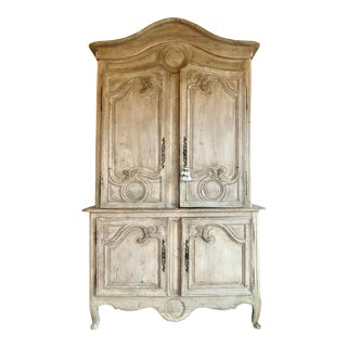 Antique French Gray Armoire For Sale