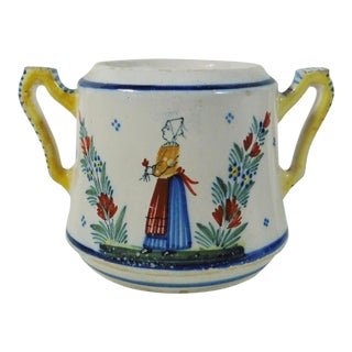 1900s French Henriot Quimper Faience Handled Pot For Sale