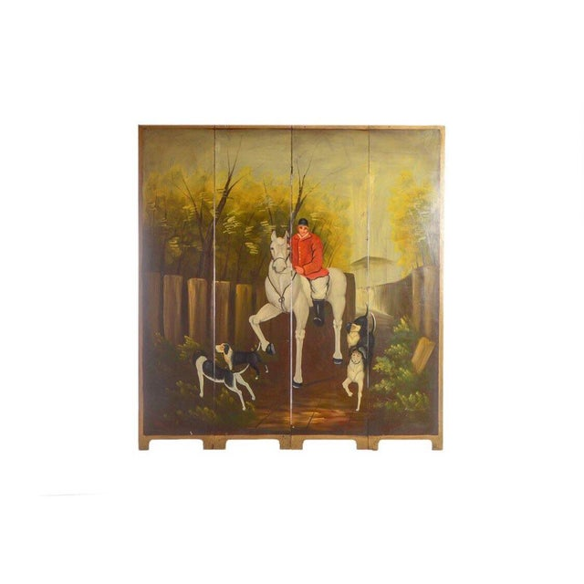 Green Late 20th Century Painted Wood Four-Panel Hunting Scene Room Divider For Sale - Image 8 of 8