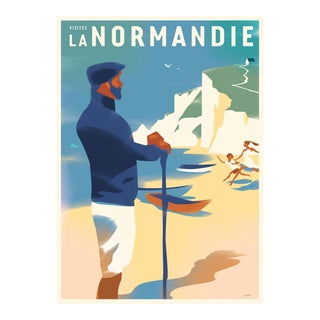 Danish Modern Travel Poster, Visitez Normandie For Sale