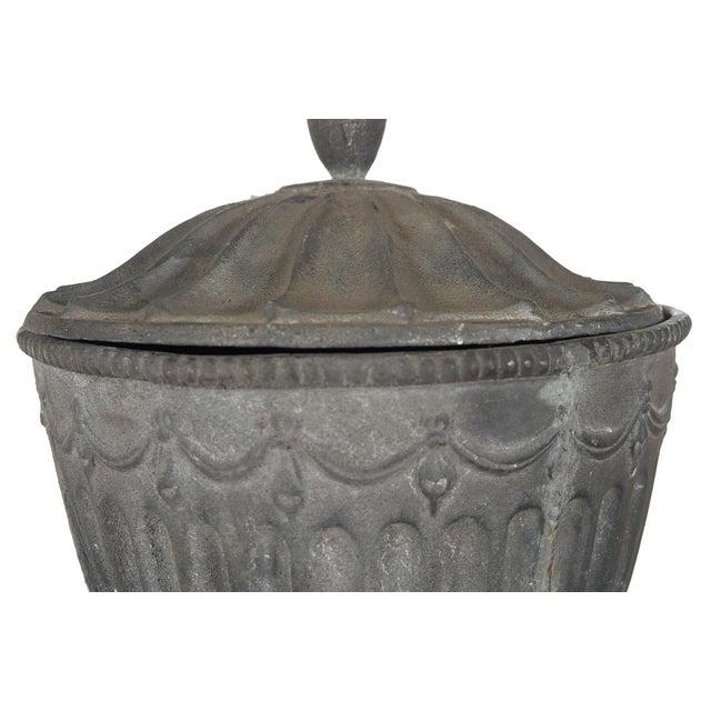 Silver Antique Large Outdoor Lidded Metal Urn For Sale - Image 8 of 9