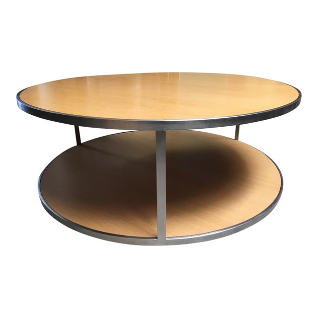 Circular Modern Stainless Steel and Oak Coffee Table For Sale