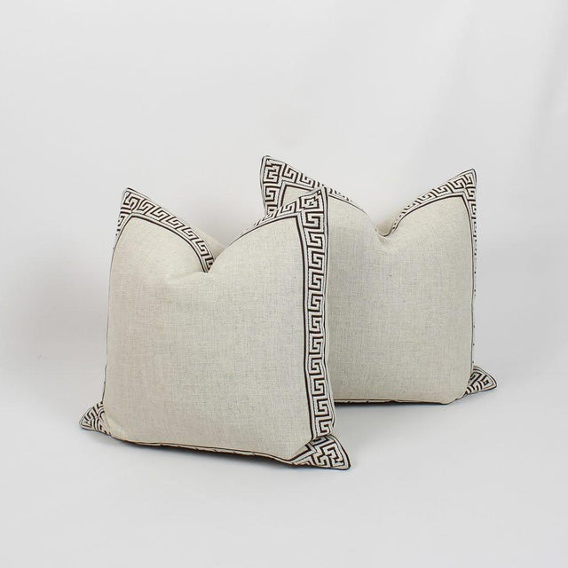 Oatmeal and Chocolate Greek Key Linen Pillows, a Pair For Sale In Atlanta - Image 6 of 6
