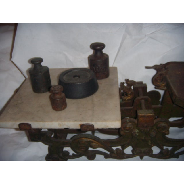 Victorian German Made Cast Iron & Marble Scale For Sale - Image 5 of 11