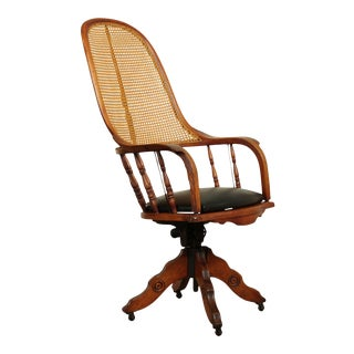Antique Victorian Cane Back Swivel Desk Chair For Sale