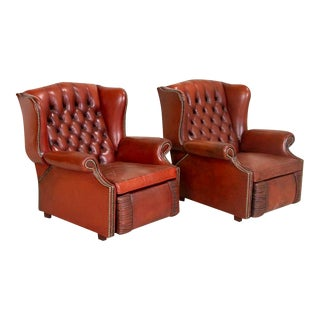 Vintage Leather Recliner Chairs - a Pair For Sale