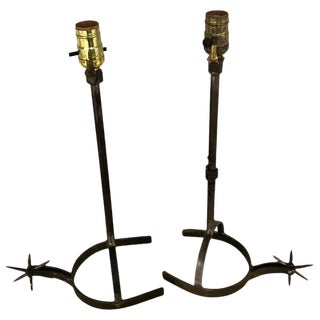 Near Pair of Iron Horseshoe Lamps For Sale