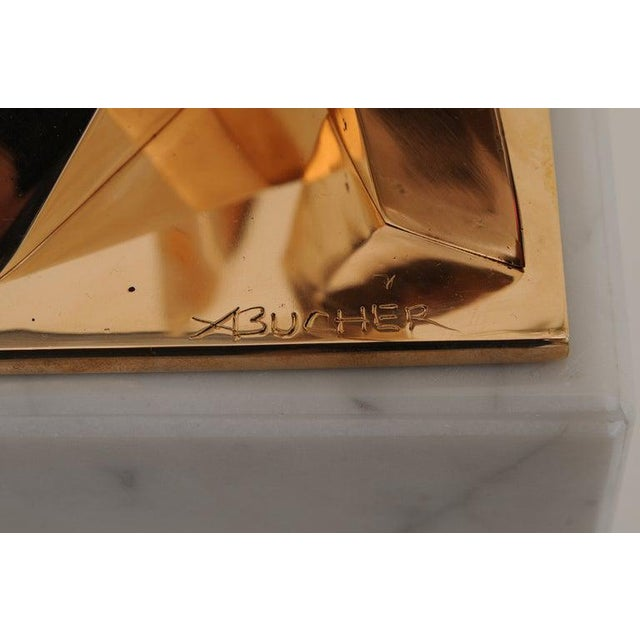 Modern Bronze Architectural Sculpture on Marble Base For Sale In Miami - Image 6 of 8