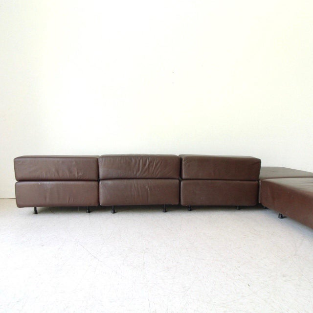 1970s Harvey Probber Leather Cubo Sectional Sofa For Sale - Image 5 of 7