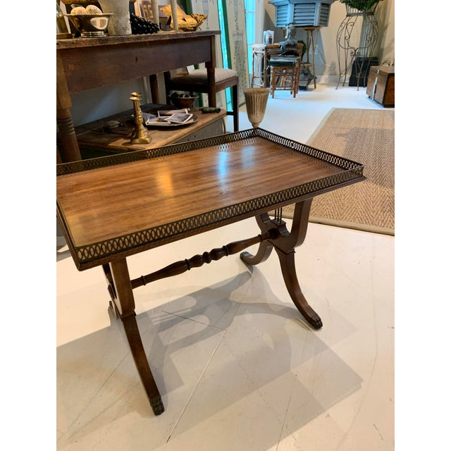 1940s Traditional Side/Coffee Table With Brass Gallery For Sale In Portland, ME - Image 6 of 10