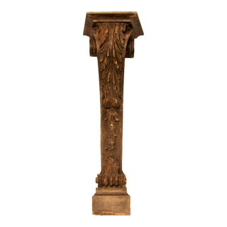 Antique Elaborately Carved Wood Pedestal Console Base, Wall Mount For Sale