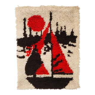 Vintage 70s Latch Hook Sailboat Wall Hanging For Sale