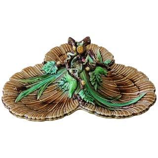 19th Century French Majolica Hazelnut Platter With Handle Sarreguemines