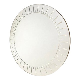 Large Round Mirror by Cristal Art For Sale