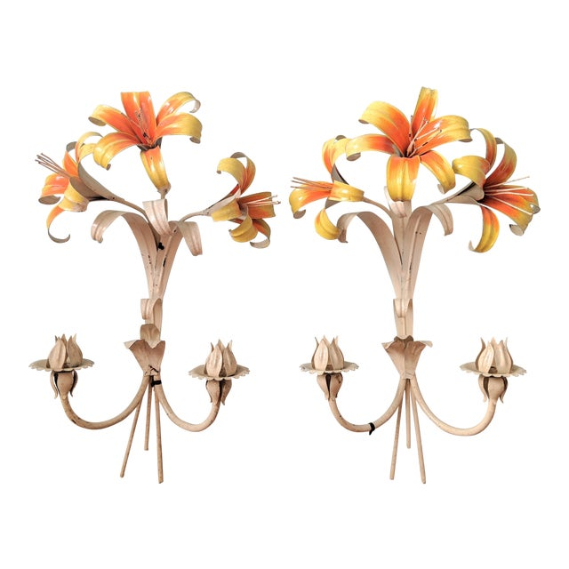 Large Mid 20th Century Italian Tole Yellow & Orange Lily Wall Sconces- a Pair For Sale