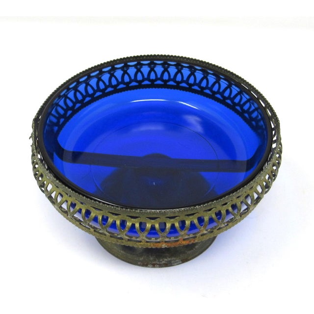 Vintage Cobalt Glass Bowl in Pierced Metal Stand For Sale - Image 4 of 8