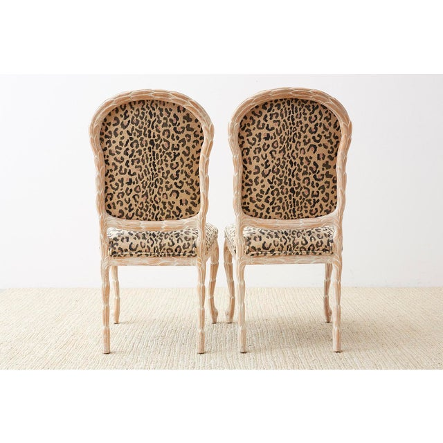 Set of Four Cerused Faux Bois Dining Chairs For Sale - Image 12 of 13