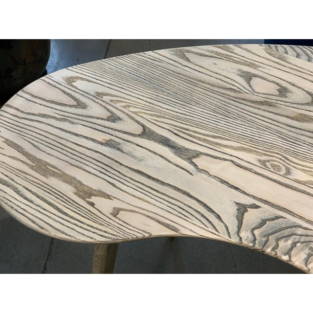 Kidney Biomorphic Shaped Oak Desk For Sale - Image 4 of 13