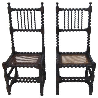 Pair of Barley Twist Side Chairs For Sale